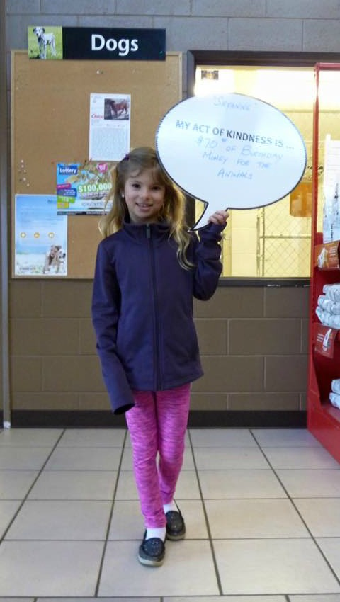 <who> BC SPCA. </who> Peyton donated $70 from her 10th birthday to the animals at the Kelowna Branch.