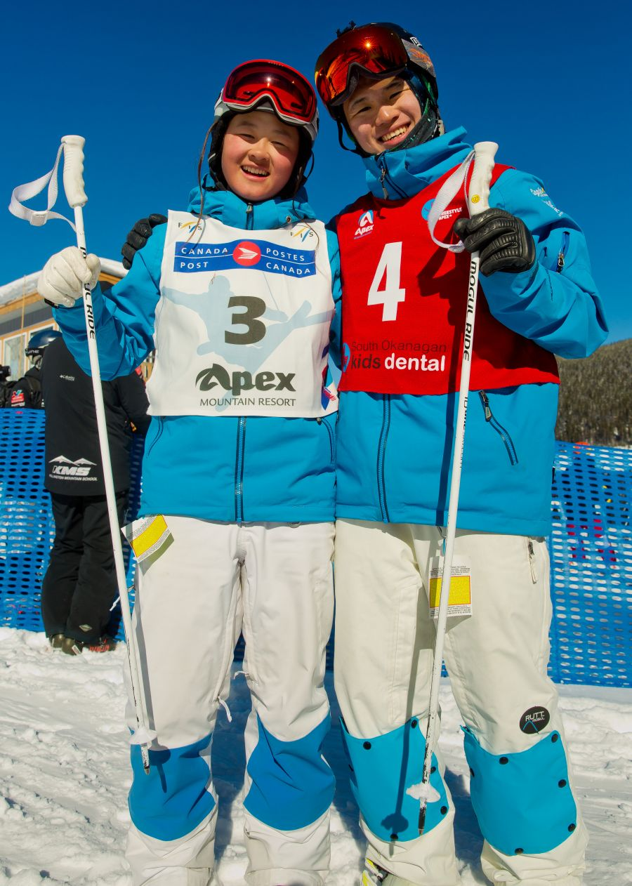 <who>Photo Credit: NowMedia</who>NorAm Cup Dual Moguls winners Kai Owens and So Matsuda