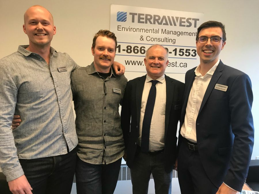 <who>Photo Credit: Contributed</who>TerraWest Environmental (L to R) Adam Mabbot (VP Operations), Andrew Kuiper (Environmental Technician), Alister Frayling (CEO), Matthew Barnett (Manager of Okanagan Operations)