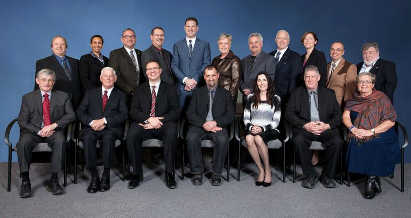 <who>Photo Credit: RDOS </who>RDOS Board chair Karla Kosakevich (bottom row third from right) has announced she will be seeking re-election to remain a director with the RDOS Board in the Oct. 20 municipal election. She would also like to remain as Board chair.