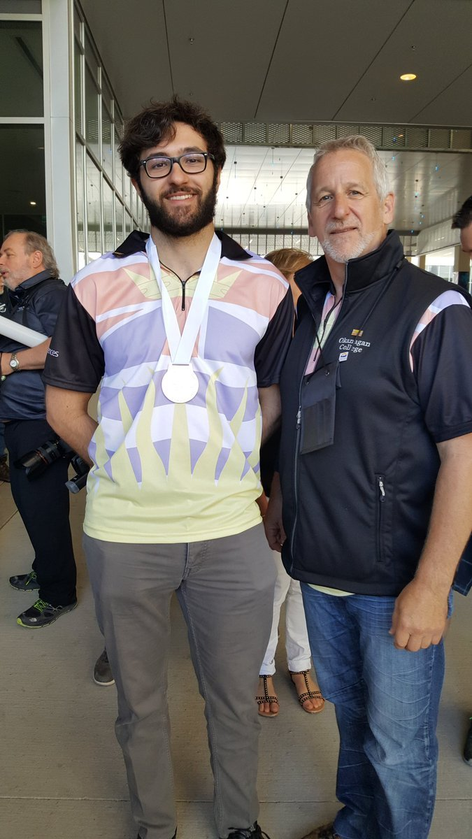 <who> Okanagan College </who> Brendan Battersby, pictured left, with his coach Ron Light