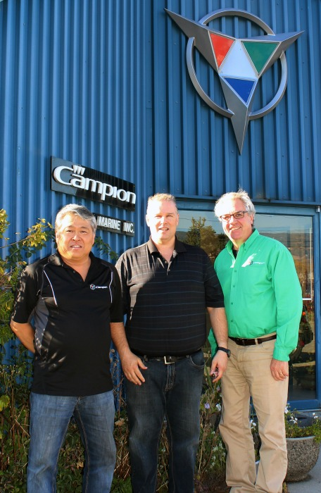 <who> Photo Credit: Maxine DeHart </who> L to R: Don Tamaki, plant manager, Chris Forest, general manager, Brock Elliot, president.