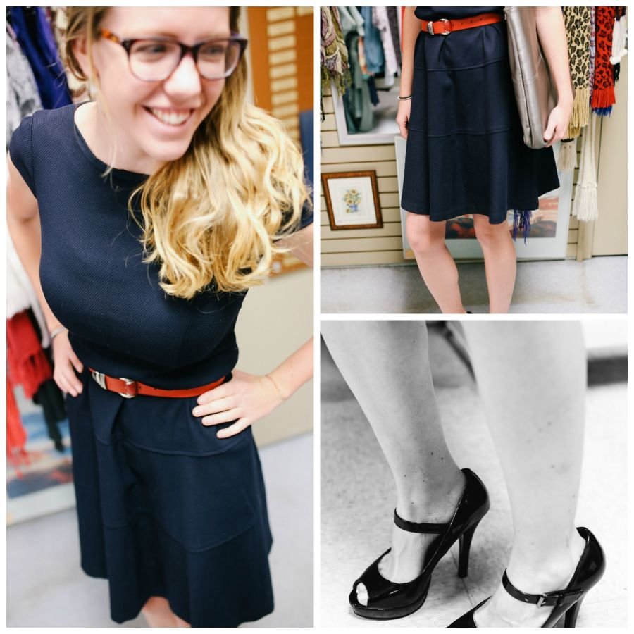 <who> Photo Credit: KelownaNow </who> Outfit: Dress - $5.00, Belt - $2.00, Shoes - $8.50, Bag $2.00