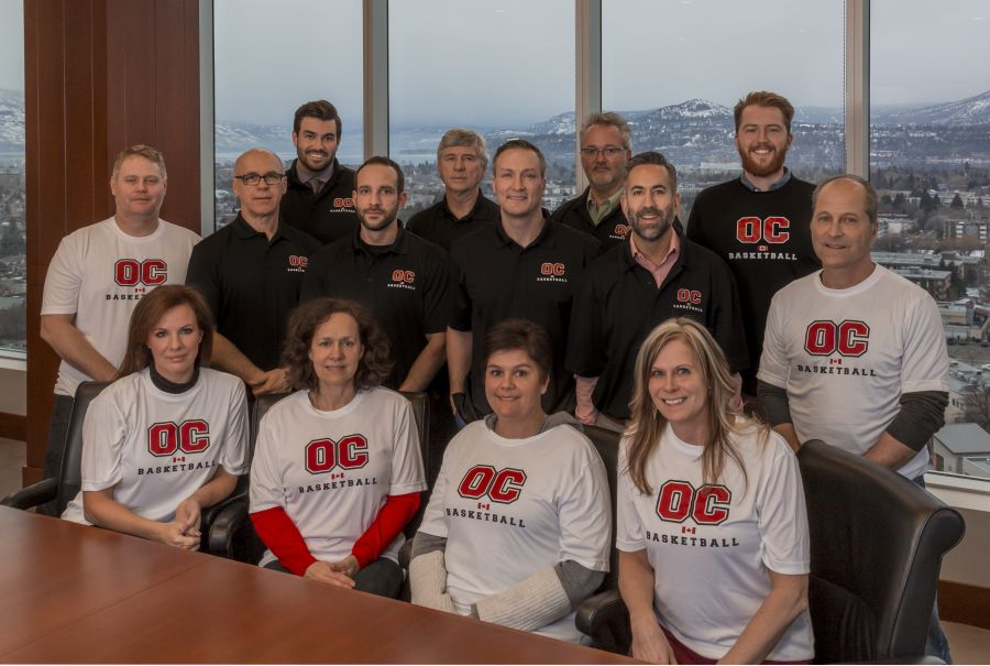 <who> Photo Credit: Contributed. </who> Okanagan College's basketball committee meets at Farris, Vaughan, Wills & Murphy LLP offices.