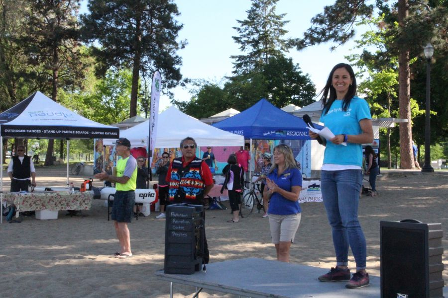 <who>Photo Credit: KelownaNow</who>Mariko Siggers speaking at the Grand Opening of the Kelowna Paddle Trail