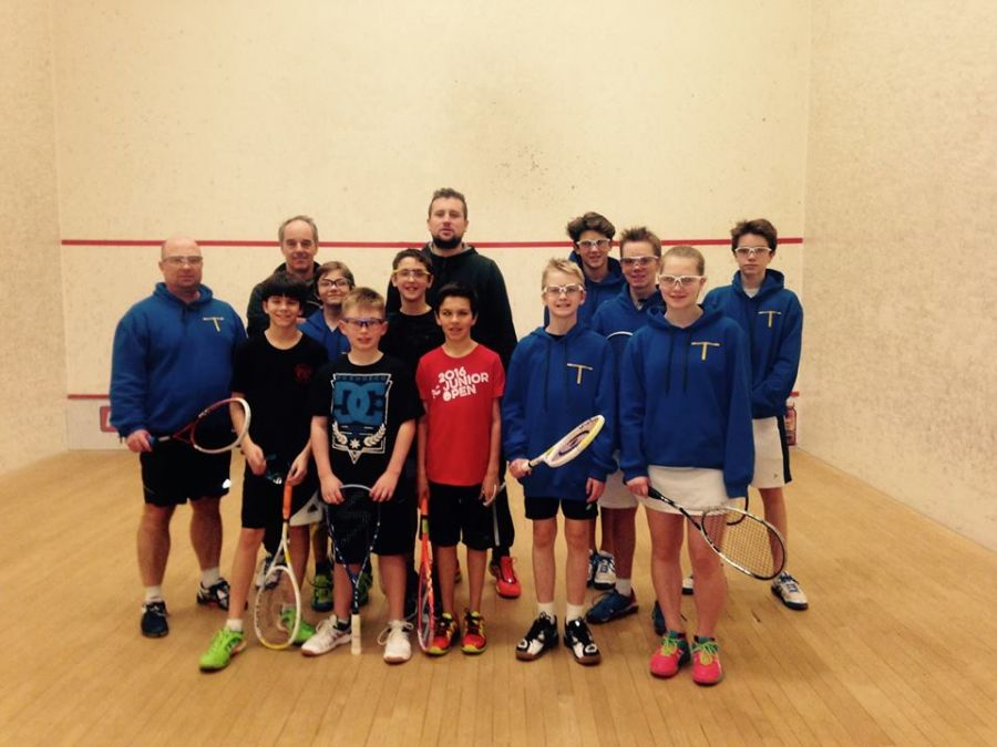 <who>Photo Credit: Facebook Interior Squash Academy </who>Adam Terheege (centre with beard), founder of the Interior Squash Academy, has been running a junior program every weekend from September to April out of the Lakeshore Racquets Club in Summerland the last three years. He invites more juniors to join his program.