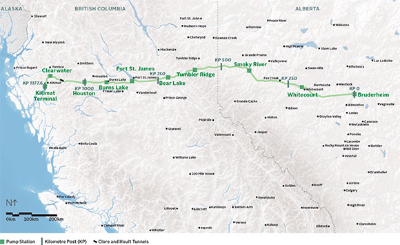 <who> Photo creidtl Government of Canada </who> Proposed Northern Gateway pipeline route
