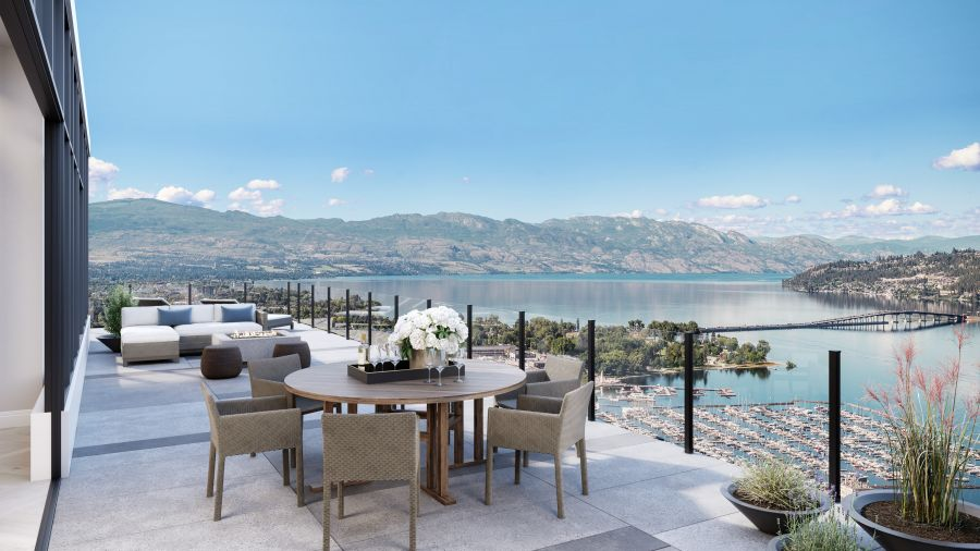 </who>The 2,600 square feet of exterior living space soaks in panoramic views of Okanagan Lake, mountains and Kelowna's cityscape.