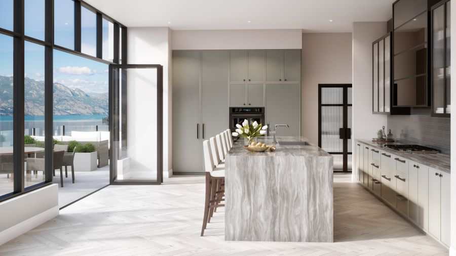 </who>The penthouse has two kitchens, one indoor (pictured) and another on the expansive, wrap-around terrace.