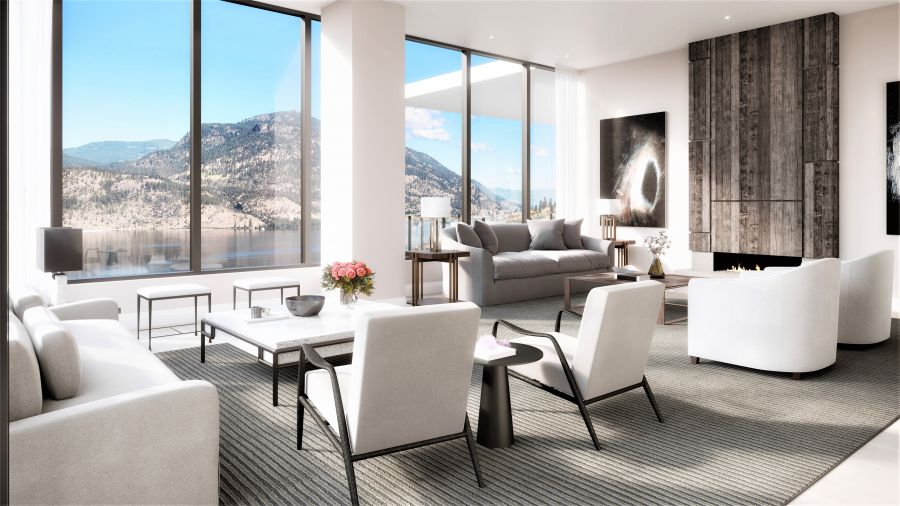 </who>The double-size living room of the One Water Street penthouse features massive window to the lake view and a fireplace. The interiors are by celebrity designer Brian Gluckstein, who has designed many a luxury home, has a line of furniture and accessories that are sold in stores nationwide and appears regularly on Cityline morning TV.