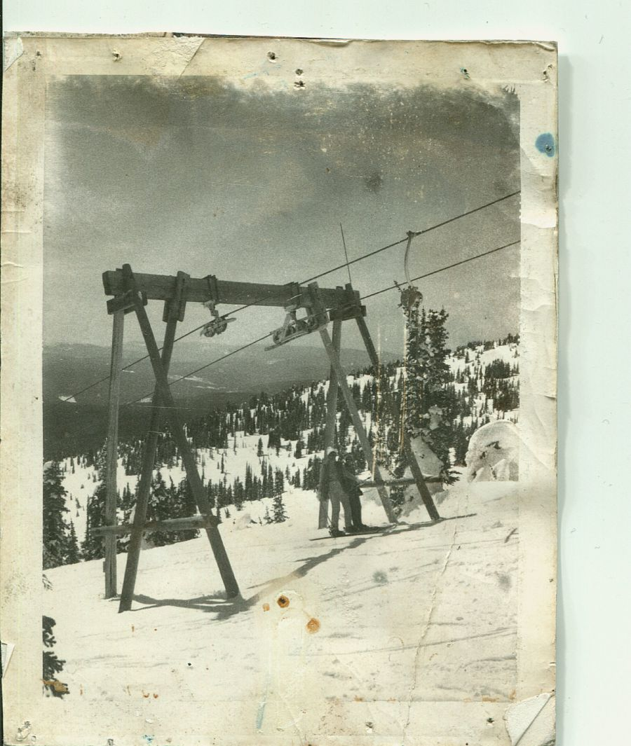 <who> Photo Credit: Courtesy of Big White. </who> One main T-Bar was all skies had to get them up the mountain in 1963.