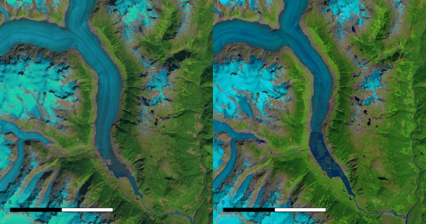 <who>Photo Credit: UNBC</who>Satellite images showing snout of Klinaklini Glacier in late summer 2000 and 2018, a similar period of time as the current study.
