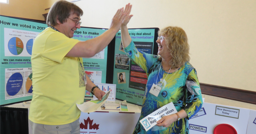 <who>Photo Credit: Contributed </who>South Okanagan Similkameen Fair Vote team chair Diana McGregor is seen with supporter Tom Hoenich at an event about proportional representation earlier in 2018.