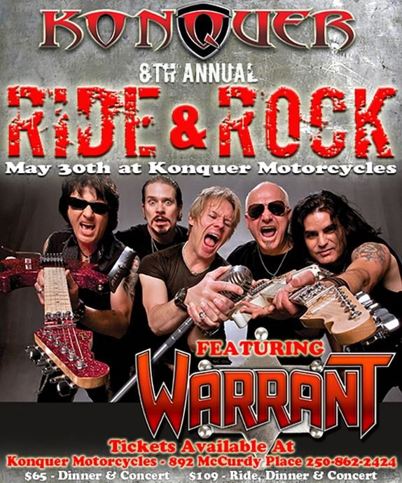 80s band 39 warrant 39 to headline annual ride rock fundraiser. Black Bedroom Furniture Sets. Home Design Ideas