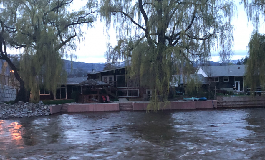<who>Photo credit: KelownaNow </who> Mission Creek on April 29, 2018 at the Lakeshore bridge.
