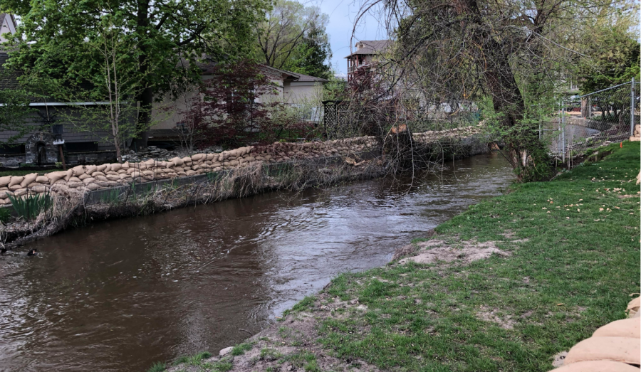 <who>Photo credit: KelownaNow</who>Mill Creek at the Buckland Avenue on May 4, 2018.