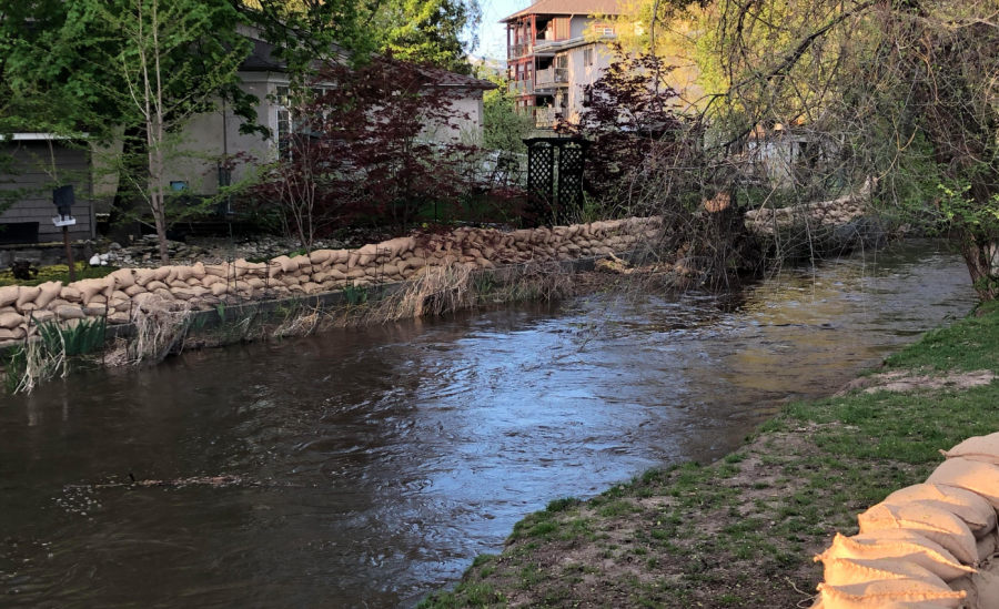 <who>Photo credit: KelownaNow</who>Mill Creek at the Buckland Avenue on May 5, 2018.