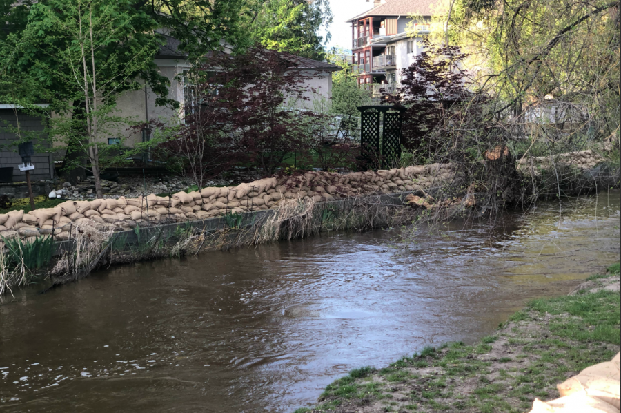 <who>Photo credit: KelownaNow</who>Mill Creek at the Buckland Avenue on May 6, 2018.