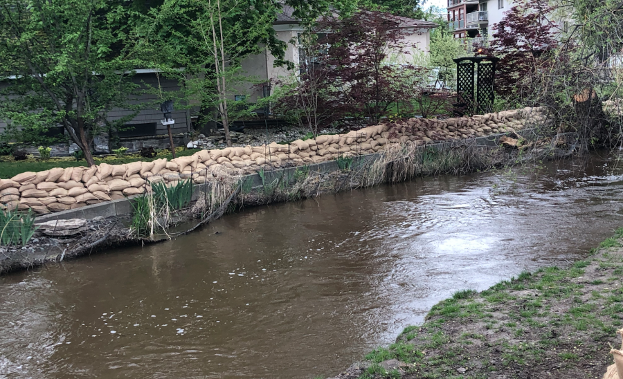 <who>Photo credit: KelownaNow</who>Mill Creek at the Buckland Avenue on May 7, 2018.