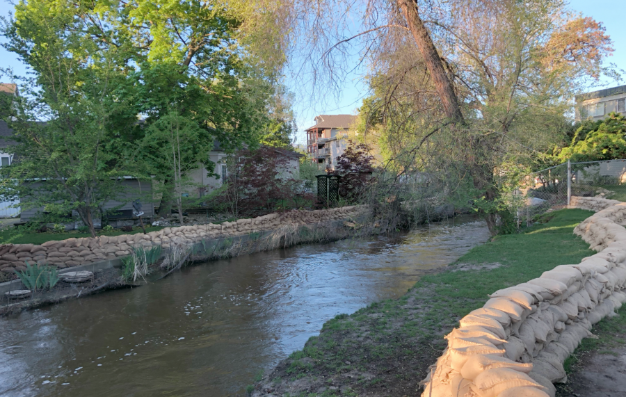 <who>Photo credit: KelownaNow</who>Mill Creek at the Buckland Avenue on May 8, 2018.