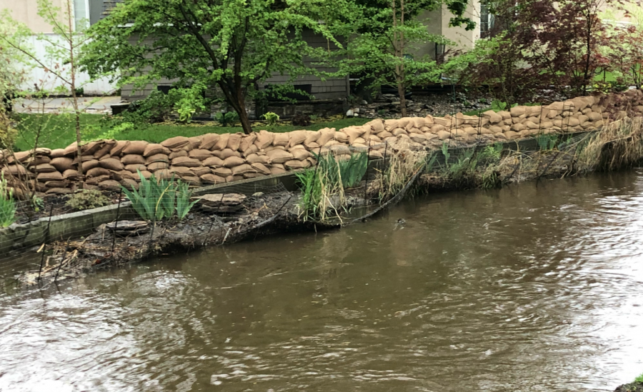 <who>Photo credit: KelownaNow</who>Mill Creek at the Buckland Avenue on May 9, 2018.