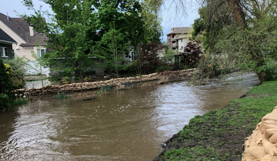 <who>Photo credit: KelownaNow</who>Mill Creek at the Buckland Avenue on May 10, 2018.