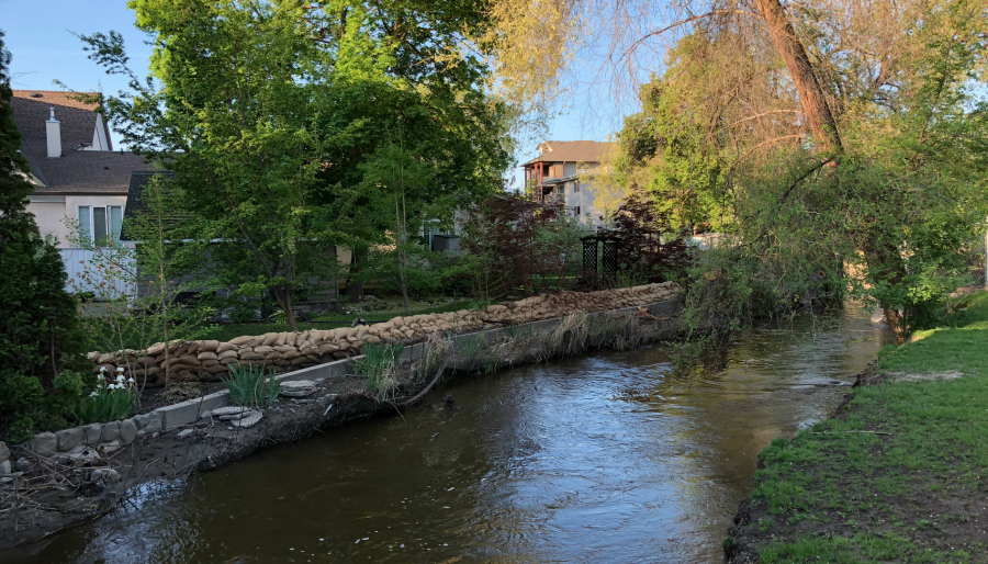 <who>Photo Credit: KelownaNow</who> Mill Creek at the Buckland Avenue on May 14, 2018.