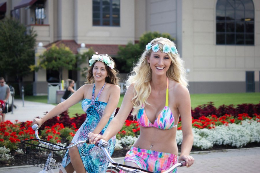 <who>Photo Credit: Crimson Hair Salon / Tika Michelle Photography</who>Festival vibes are perfect when paired with cruiser bikes! Think loose curls, braids, and flower crowns!