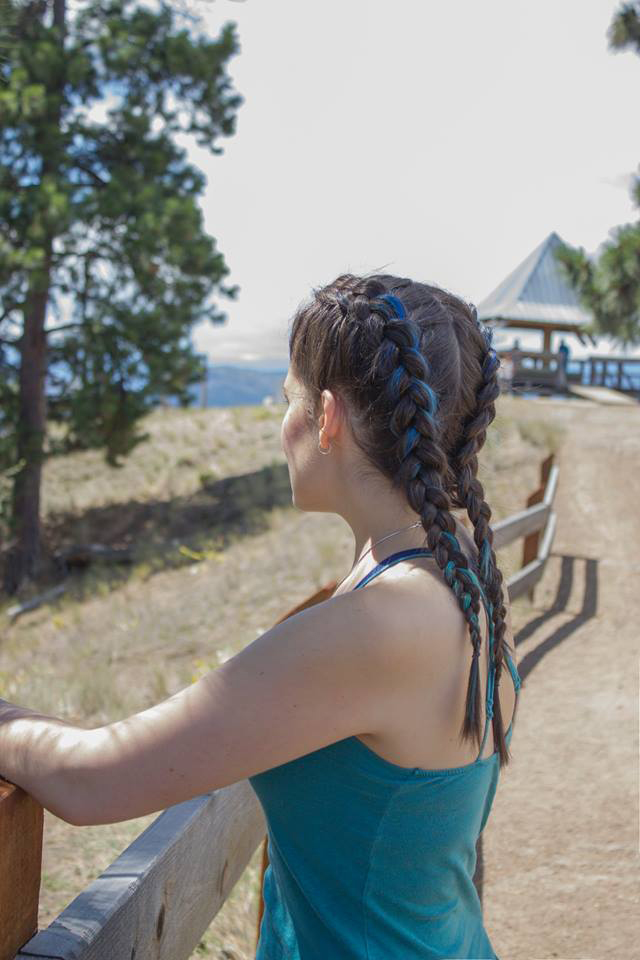 <who>Photo Credit: Crimson Hair Salon / Tika Michelle Photography</who>Boxer braids are the perfect hiking hairstyle, keeping your hair off your face while you climb Knox Mountain.