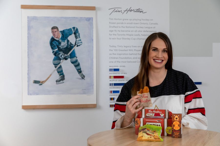 <who>Photo Credit: Newswire</who>Team Canada hockey player Meaghan Mikkelson helped Tim Hortons launch the new kids menu today.