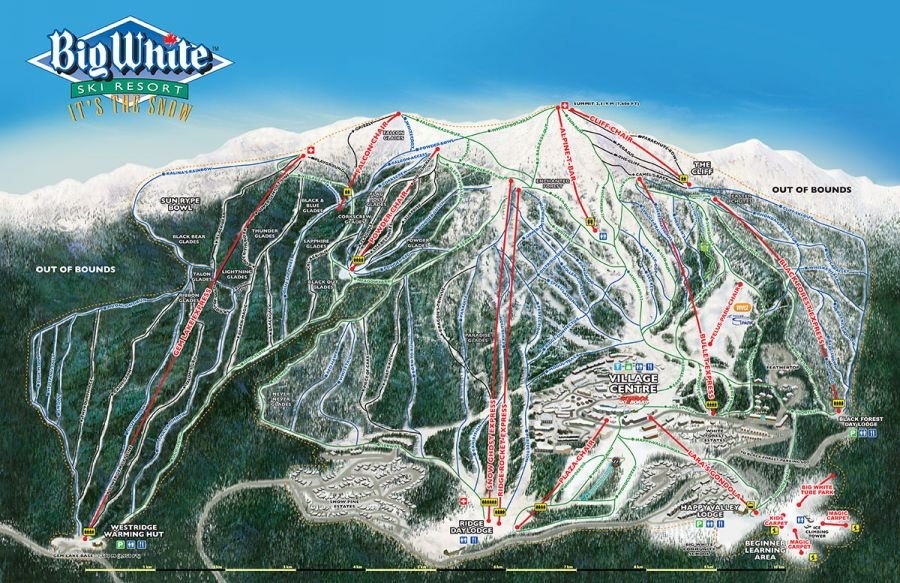 <who> Photo Credit: Courtesy of Big White. </who> The mountain's updated 2020 trail map featuring nearly 2,800 acres of skiable terrain.