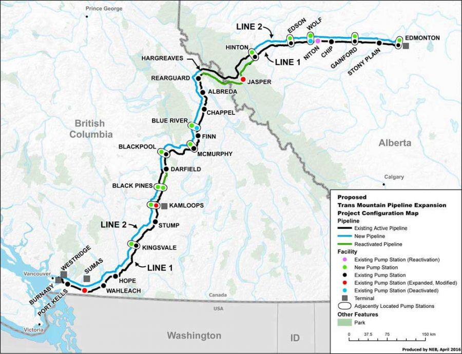 <who> Photo credit: government of Canada </who> Map of proposed Trans Mountain Pipeline Expansion Configuration