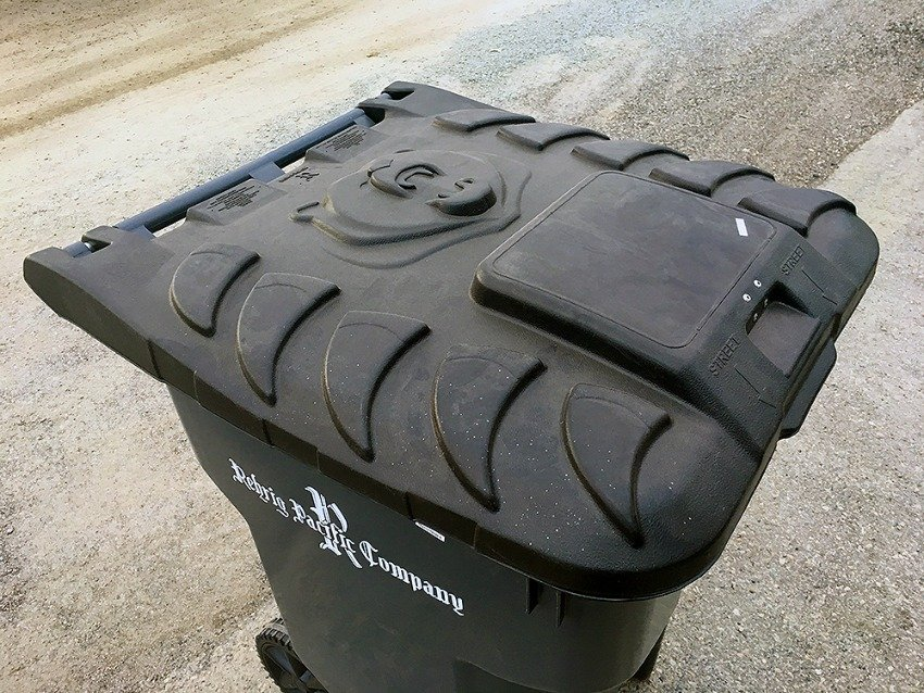 <who>Photo credit: City of Prince George</who> A bear-resistant garbage can from Prince George