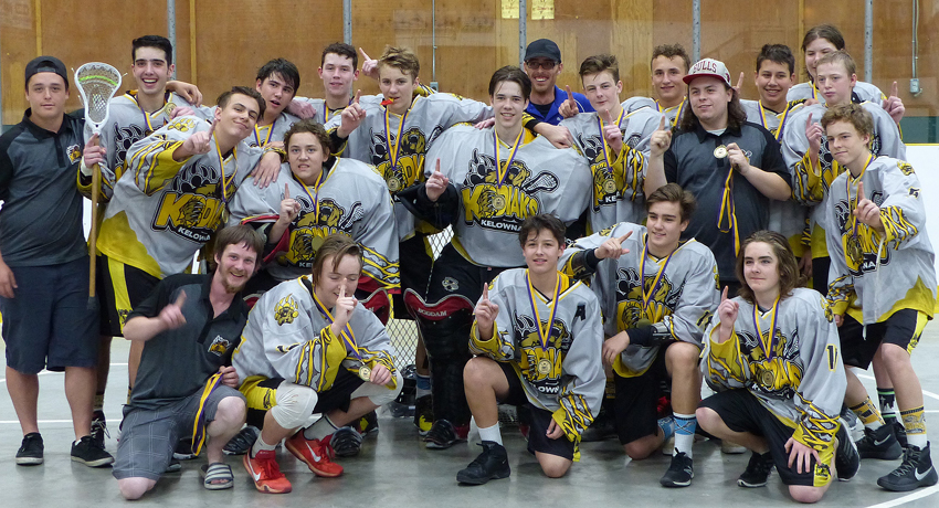 <who>Photo Credit: Contributed </who>The Kelowna Kodiaks defeated the host North Okanagan Legends 10-1 in the title game to capture the Rock The House midget lacrosse tournament on the weekend in Armstrong. Members of the winning team are, from left, front: Mike Phillips (assistant coach), Sam Adams, Zander Torres, Robbie Paialunga, Taryn Munson and Tory Koski. Middle: Tanner Warren, Joe Prohaska, Shaun Agostinho, Colten Wasylenko, Quinn Johnson-Plant (assistant coach) and Zeb Pink. Back: Zane Torres (assistant coach), Oliver DiMarcello, Brodie McIsaac, Adam Mitchell, Justin Charlton, Gregg Parrent (head coach), Nolan Katinic, Zach McGill and Peyton Avigdor.