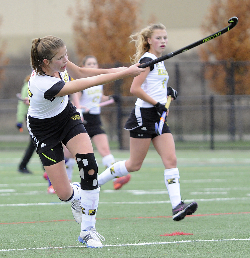 <who>Photo Credit: Lorne White/KelownaNow </who>Isabelle Seifert of the Kelowna Owls follows through on a shot sy the Penticton Lakers' net in the Okanagan Valley senior AAA field hockey final on the weekend. Siefert scored once in an 11-0 win.
