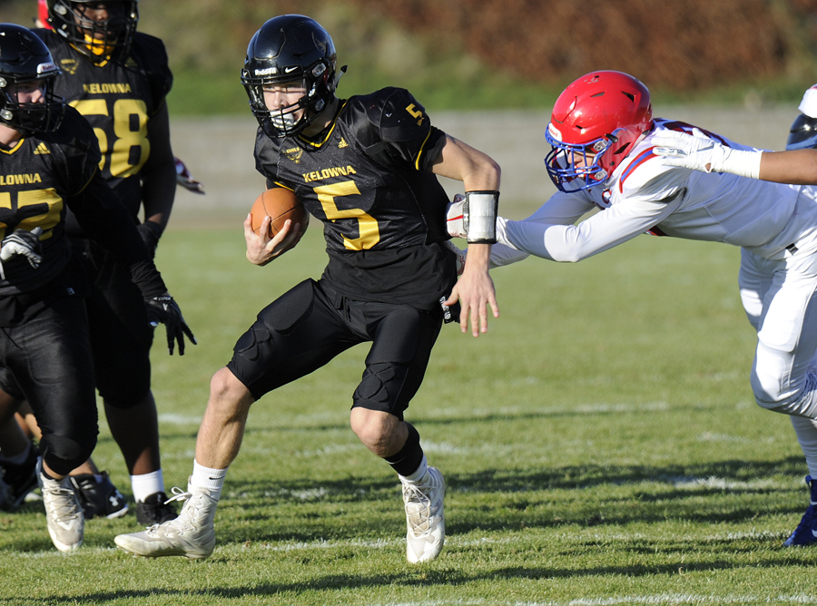 <who>Photo Credit: Lorne White/KelownaNow </who>KSS Owls' QB Nathan Beauchemin has been selected as a Eastern Conference all-star.