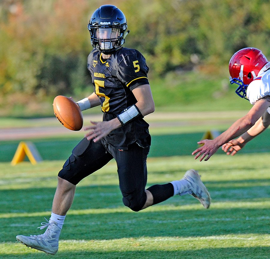 <who>Photo Credit: Lorne White/KelownaNow </who>Nathan Beauchemin completed 12 passes for 210 yards and three touchdowns in the Kelowna Owls' first win ever over the Terry Fox Ravens.