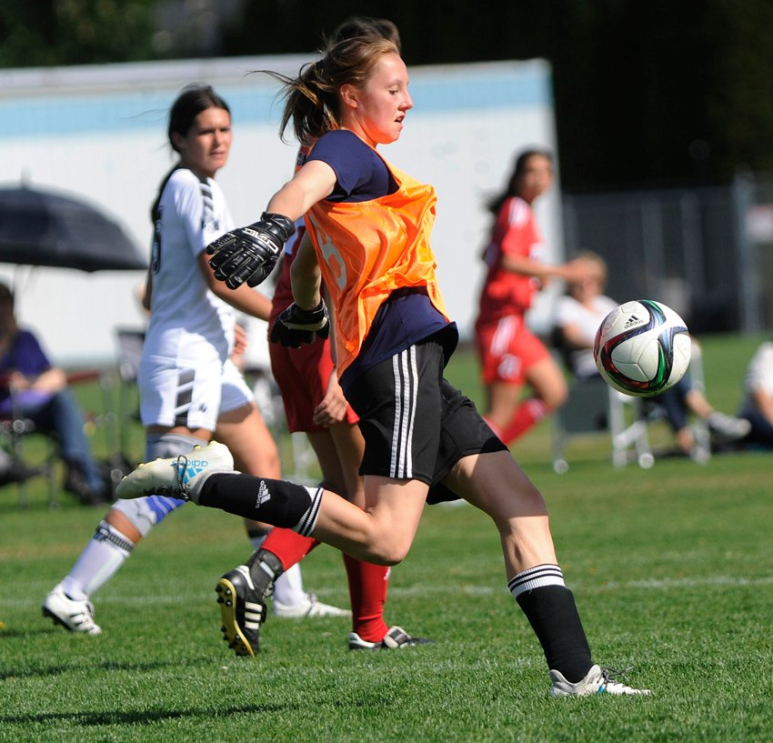 <who>Photo Credit: Lorne White/KelownaNow </who>Goalkeeper Tayshja Clark stemmed the tide against the KSS Owls early in the final game.