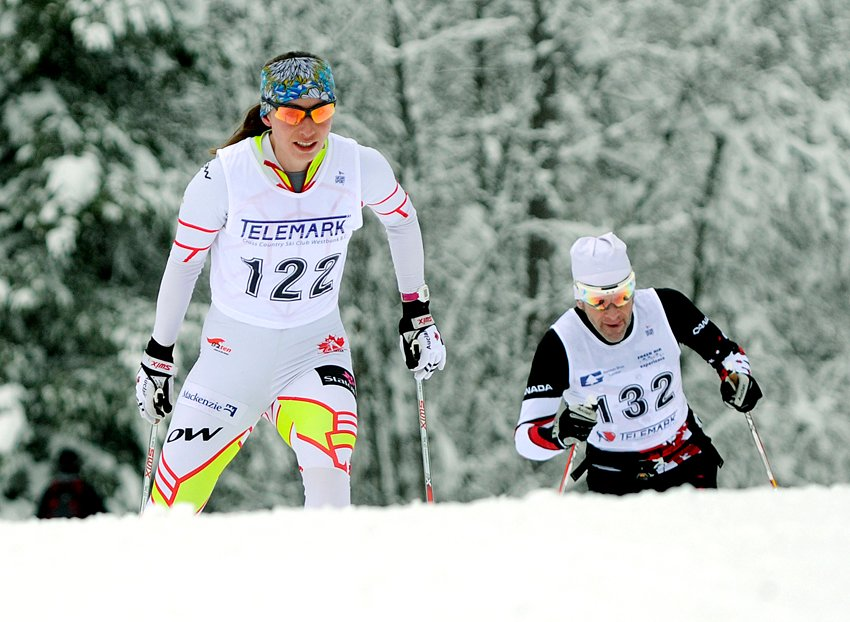 <who>Photo Credit: Lorne White/NowMedia </who>Alysson Hamilton of Larch Hills was first among the women racers in the Apple Loppet's skiathlon.