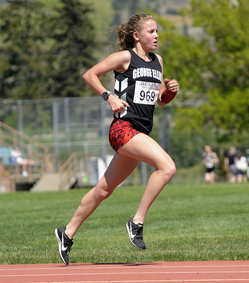 <who>Photo Credit: Lorne White/KelownaNow </who>George Elliot Secondary School's Taryn O'Neill ran to a pair of Okanagan Valley track records on Tuesday.