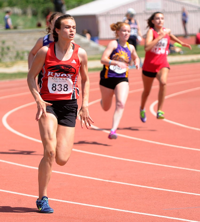 <who>Photo Credit: Lorne White/KelownaNow </who>Emma Cannan of the Dr. Knox Falcons ran to three first-place finishes.