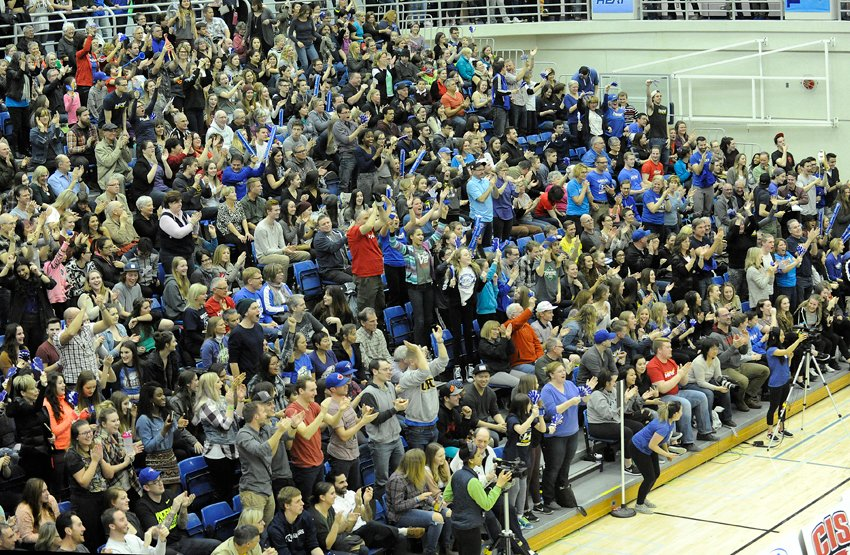 <who>Photo Credit: Lorne White/KelownaNow.com </who>A standing-room-only crowd at UBCO on Friday saw a pair of come-from-behind Final Four semifinal matches.