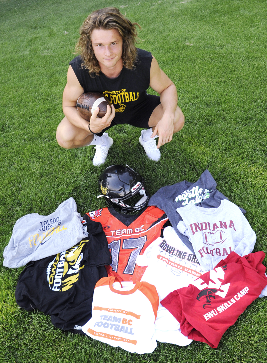 <who>Photo Credit: Lorne White/KelownaNow </who>A busy spring and summer of attending NCAA Division 1 school football camps has paid off for Kelowna Secondary School's Nolan Ulm.