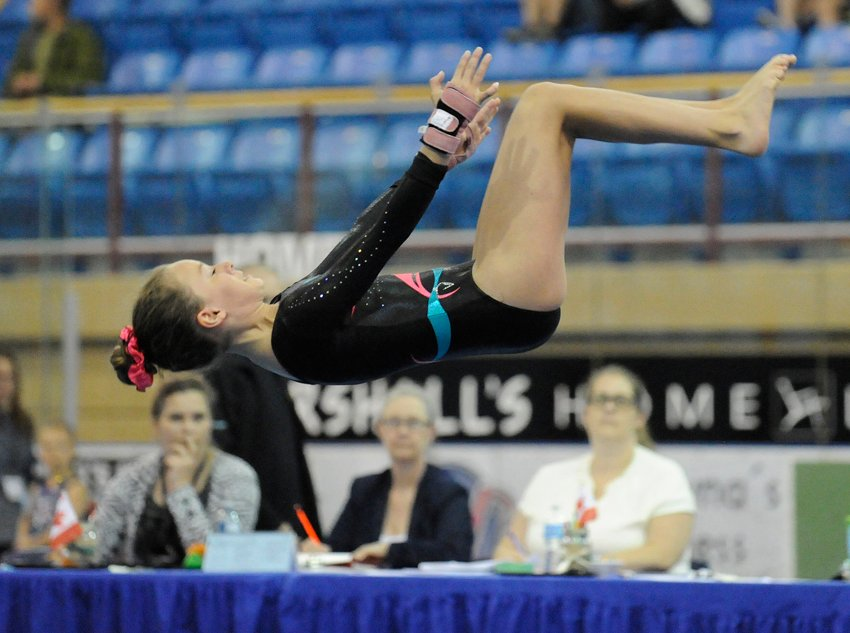 <who>Lorne White/KelownaNow </who>Grace Driver of the OGC impresses judges with her floor exercise routine at Royal LePage Place on the weekend.