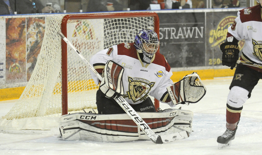 <who>Photo Credit: Lorne White/KelownaNow </who>Matthew Greenfield earned his first shutout in the playoffs by stopping 37 Chilliwack shots.