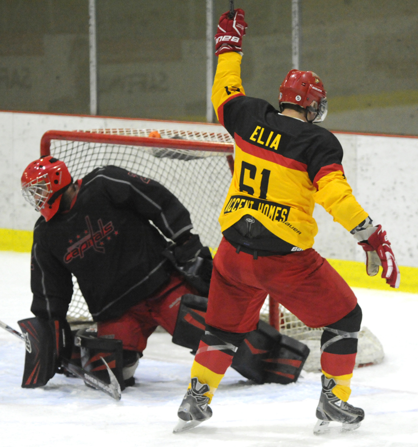 <who>Photo Credit: Lorne White/NowMedia </who>Matt Elia of the Sparta celebrates his first-period goal on Saturday against the North Island Capitals.