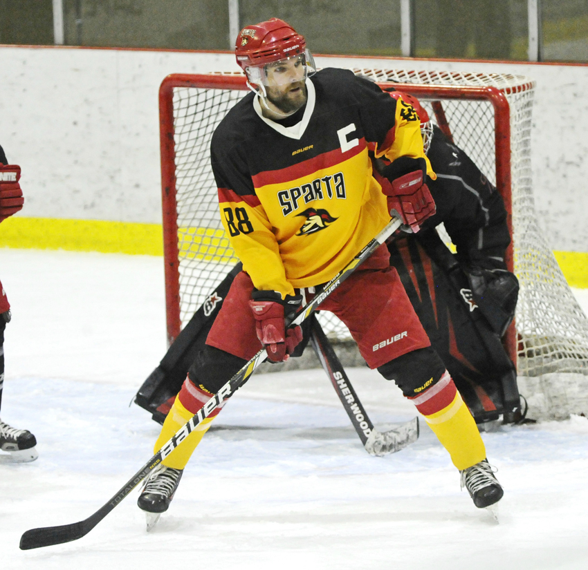 <who>Photo Credit: Lorne White/NowMedia </who>Sasha Golin, a former WHLer (Portland and Kamloops) scored in Sparta's 4-1 win in the first weekend game.