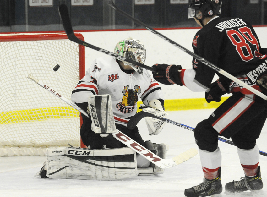 <who>Photo Credit: Lorne White/NowMedia </who>Summerland's Lucas Jirousek scores on a breakaway in the first-period on winning goaltender Joseph McLeod.