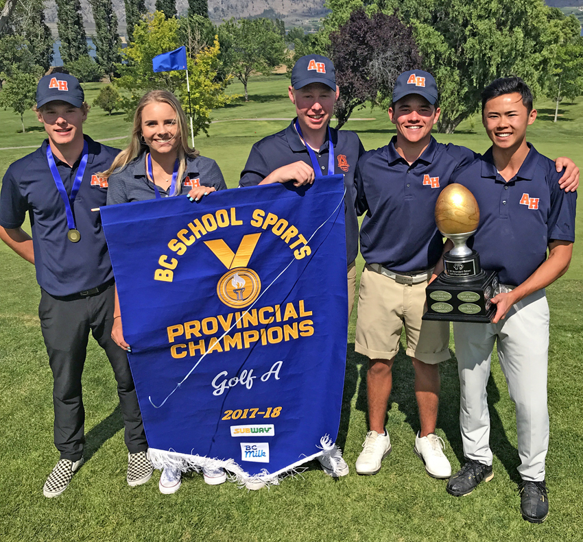 <who>Photo Credit: Contributed </who>The Aberdeen Hall Gryphons of Kelowna display the coveted B.C. School Sports senior A golf banner after winning the provincial title at the Osoyoos Golf Club on Tuesday. Members of the team are, from left, Cole Wilson, Rebecca Reitsma, Colton Piper, Kristian Isa and Brandon Chai.