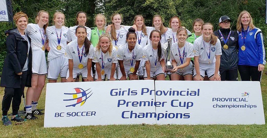 <who>Photo Credit: Contributed </who>The Thompson Okanagan Football Club's U16 team pose with the BC Soccer Premier Cup after defeating the Fusion of Richmond/Vancouver 3-1 in the championship game in Cloverdale in June. Members of the team are, from left, front: Abigail Taneda, Annika Gross, Kiana Onyango, Sydney Kolodziej, Lydia Keating and Jordan King. Back: Tammy Cartier (manager), Sophia Clarke, Jaidyn McGrath, Chloe Dalgarno, Liesl Milovick, Ava McLennan, Paige Cates, Kate Cartier, Kiera Howaniec, Kelly Kosolofski, Carli Tingstad (coach) and Suzanne Gross (manager).